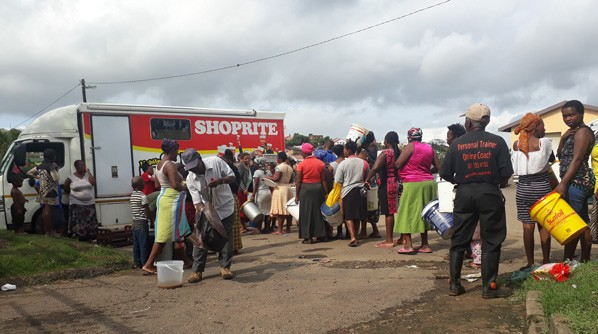 A Shoprite Mobile Soup Kitchen serving at Effingham, Durban following devastating floods in the area.