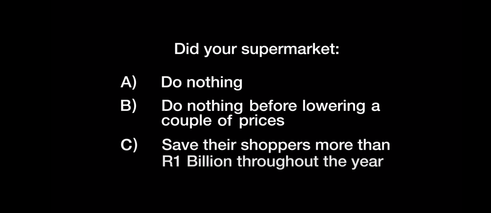 Television commercial highlights the R1 billion Checkers saved consumers
