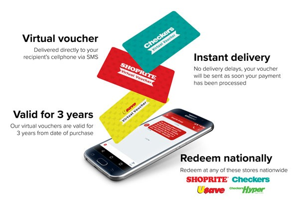 Send a virtual Shoprite or Checkers grocery voucher straight to someone's phone